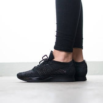 "Women's Shoes sneakers Nike Flyknit Racer ""Triple Black"" 526628 009"