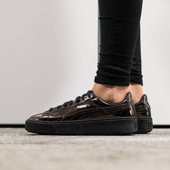 "Women's Shoes sneakers Puma Basket Platform Metallic ""Black"" 362339 03"