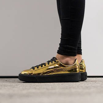 "Women's Shoes sneakers Puma Basket Platform Metallic ""Gold"" 362339 04"