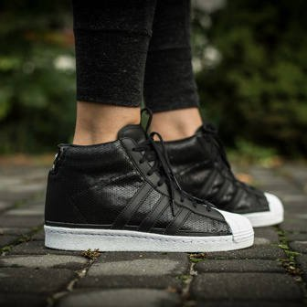 adidas Originals Superstar up Wedge Women's Shoes Black Leather